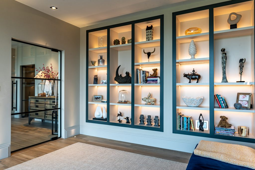 open shelving with back lighting